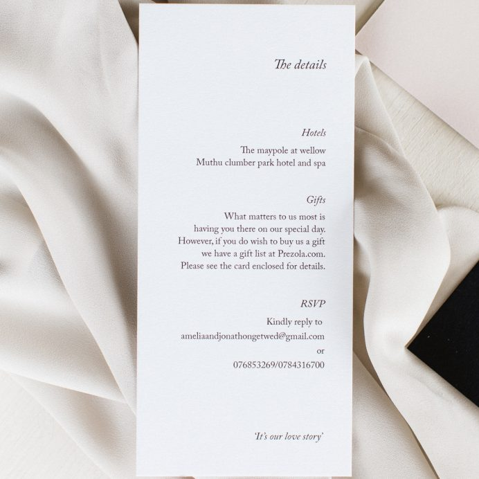 Simply Harmony wedding details card