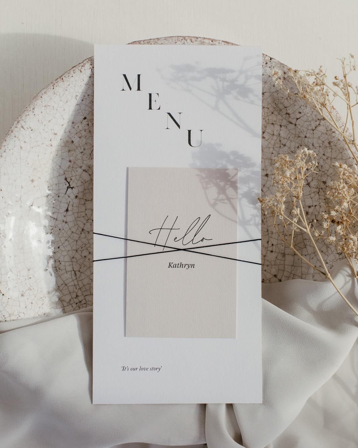 Simply Harmony wedding menu