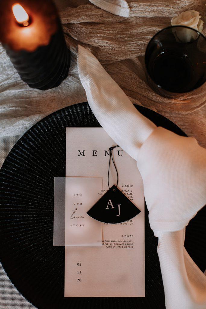 Modern black and white wedding menus
