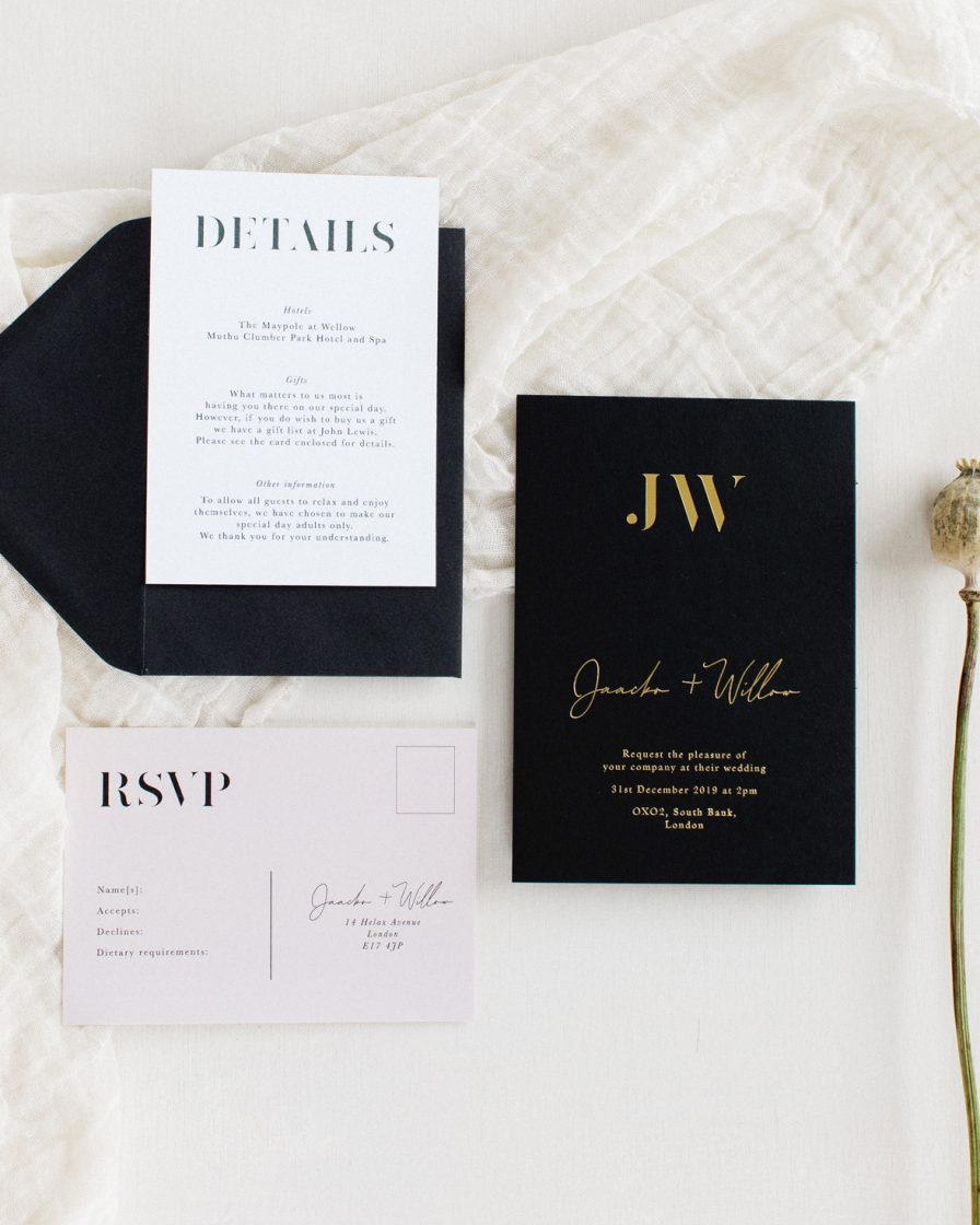 Auric Gold wedding stationery sample pack