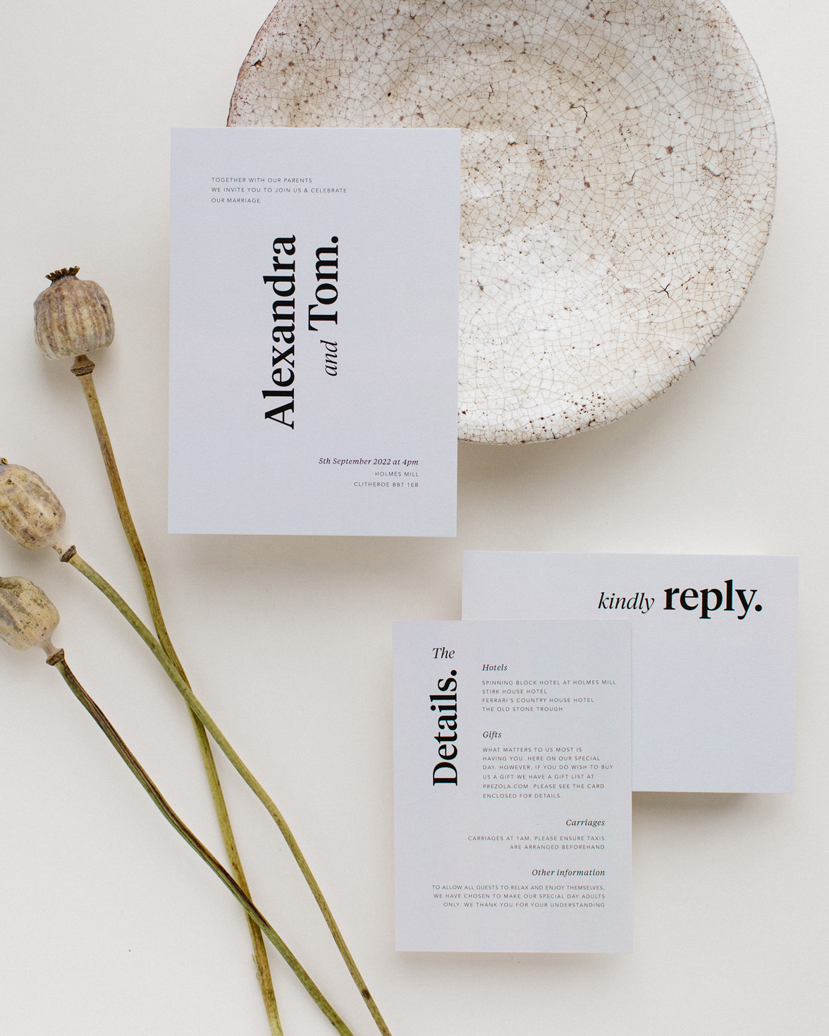 Duly noted wedding invitation sample pack