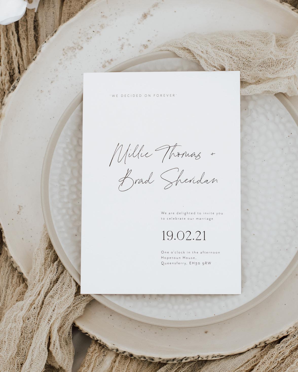 Duly noted wedding invitation