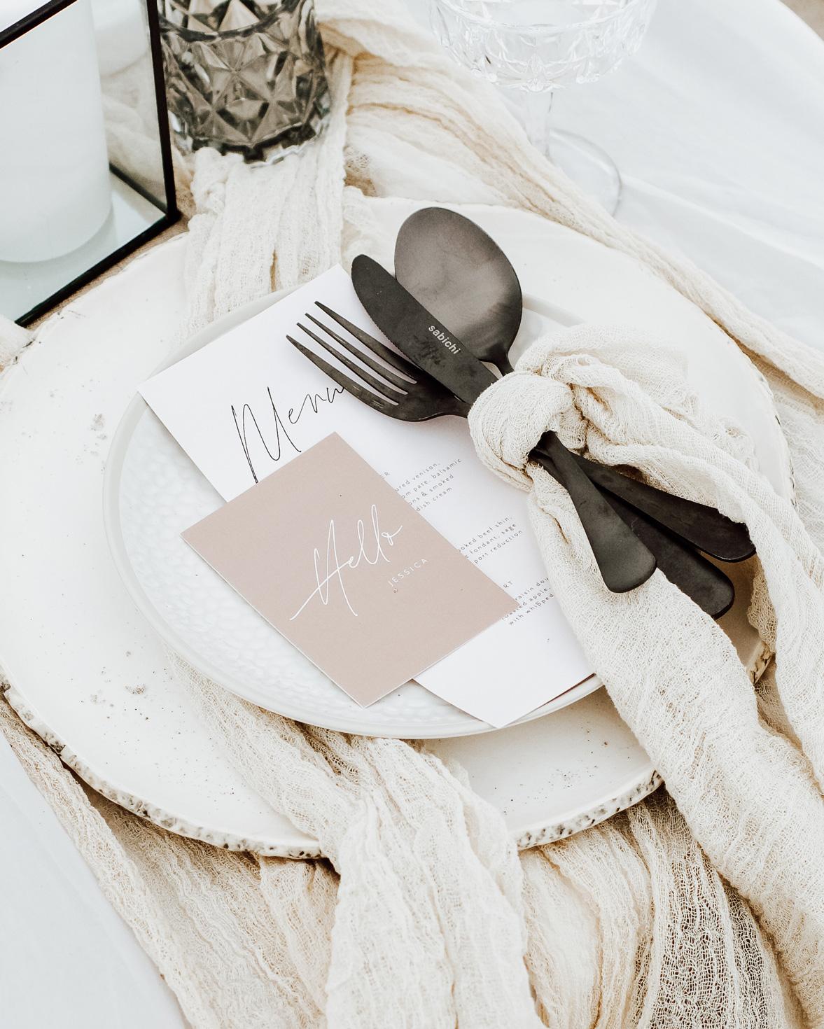 Forever bound wedding menu