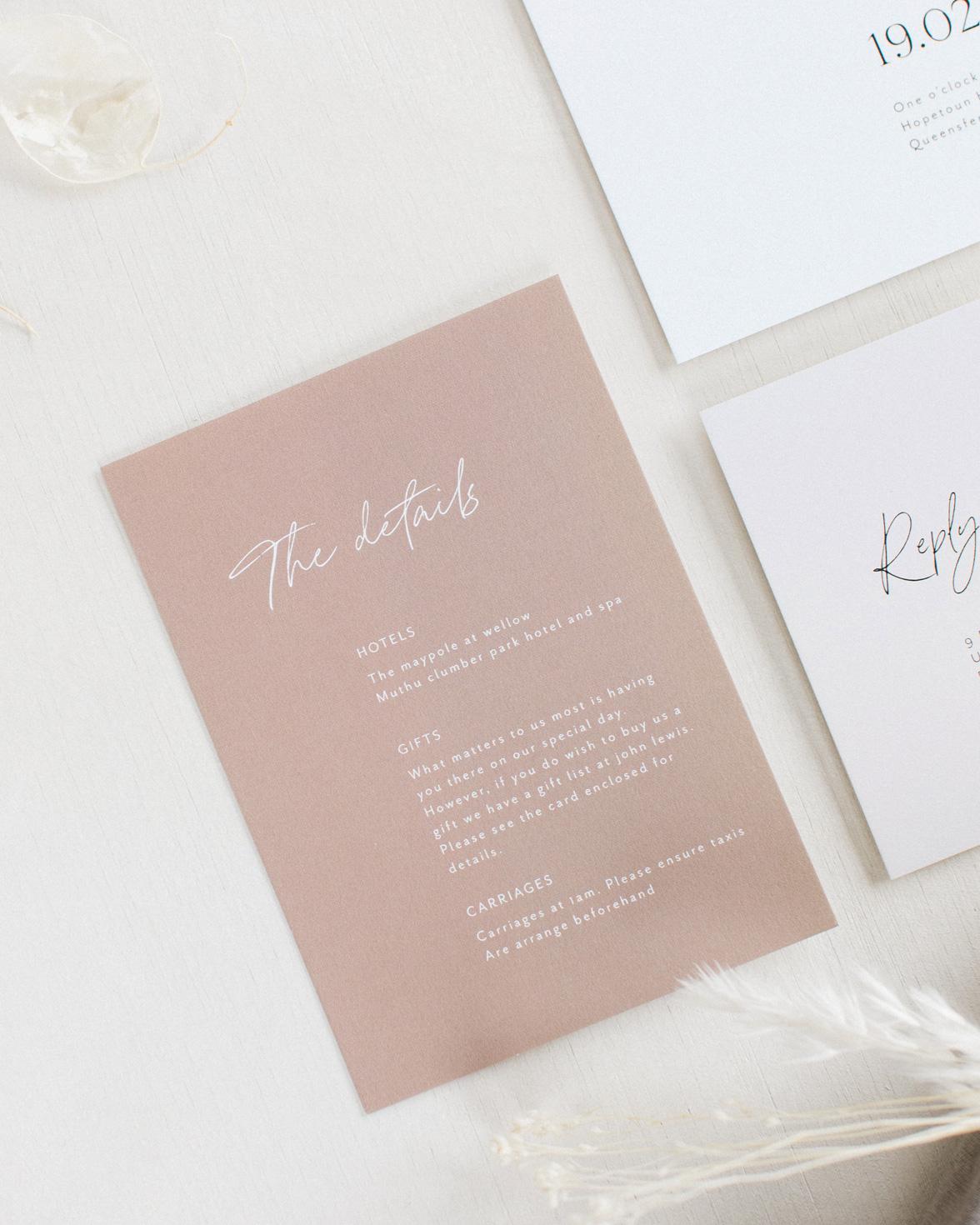 Forever bound wedding details card