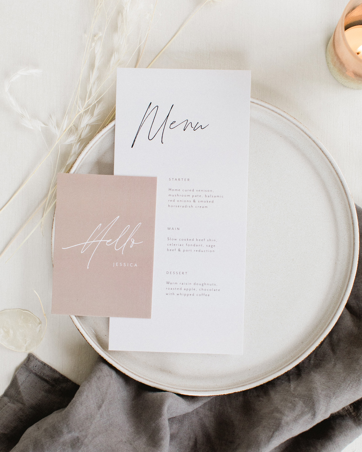 Forever bound wedding menu and place name