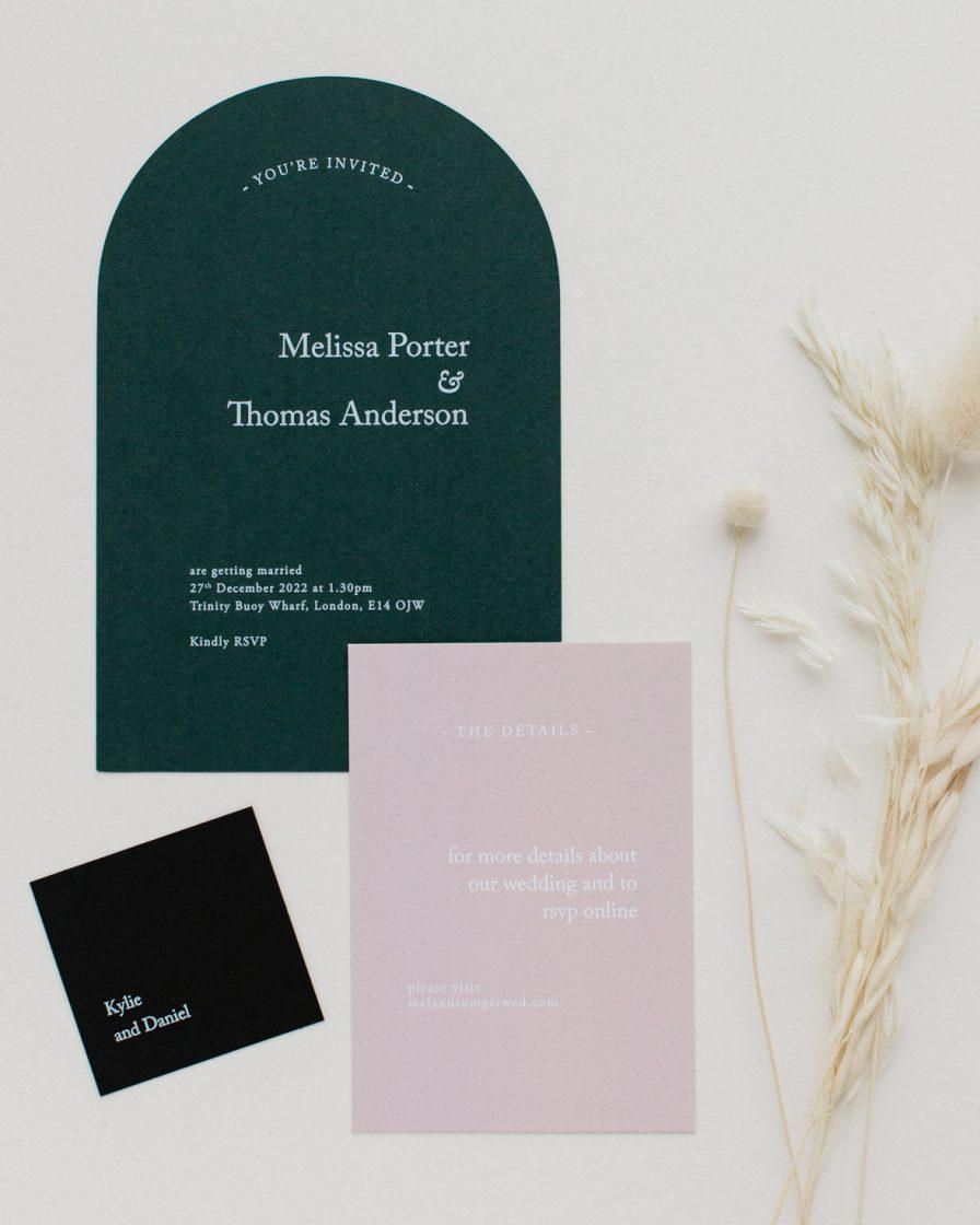 Green Revere wedding stationery sample pack
