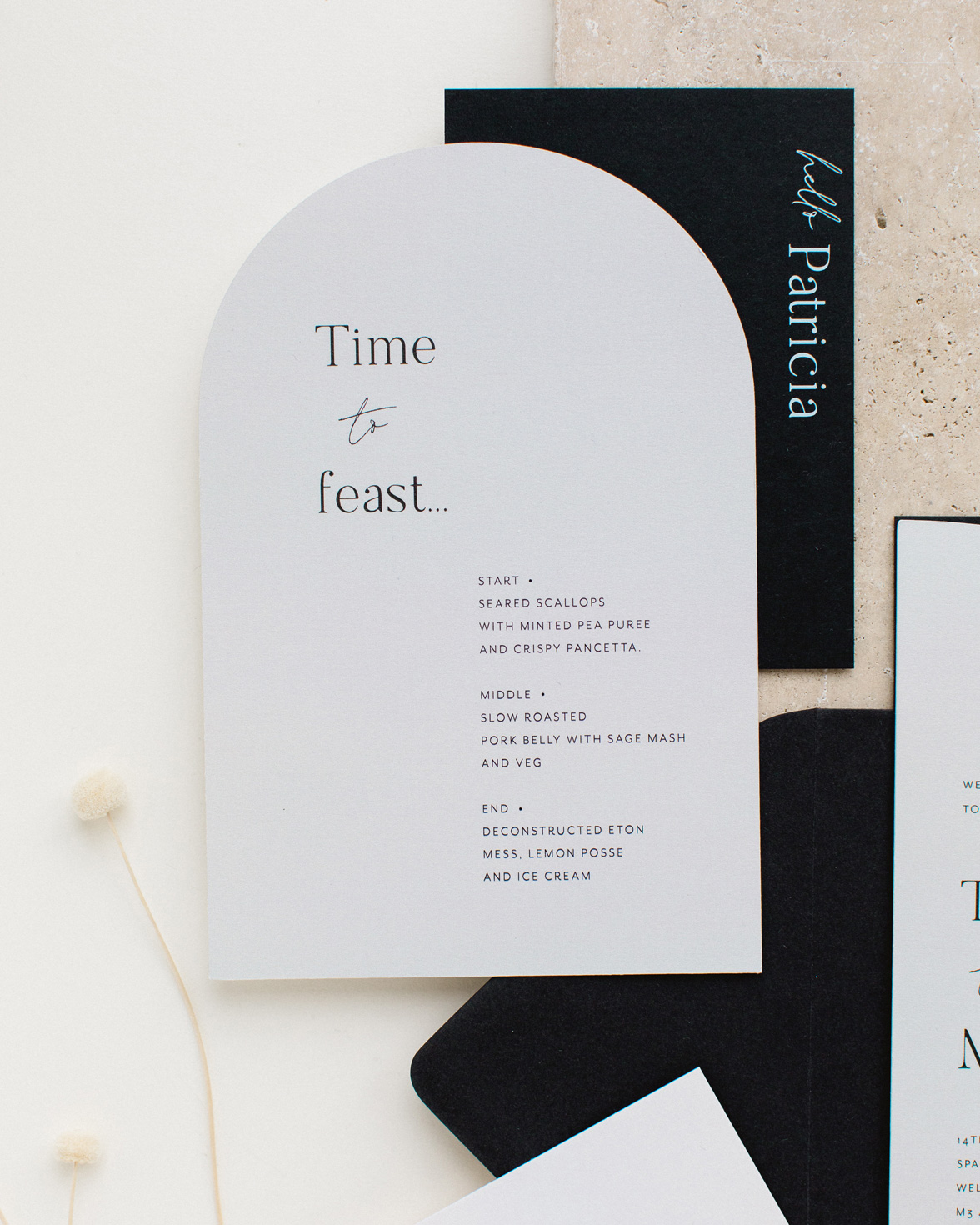 Half Arch die cut wedding menu