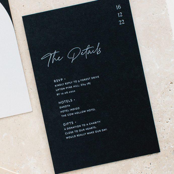 Half Arch wedding details card