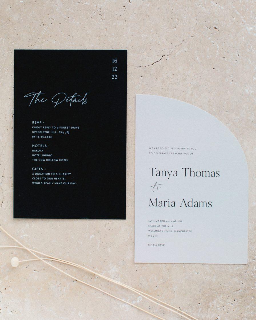 Half Arch wedding stationery sample pack