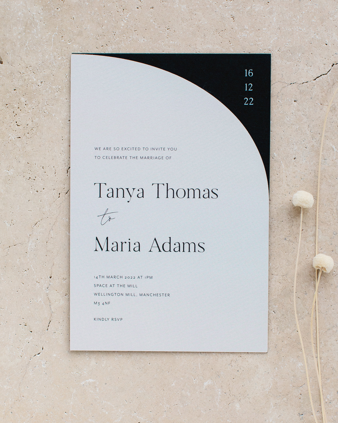 Half Arch die cut wedding invitation and details card