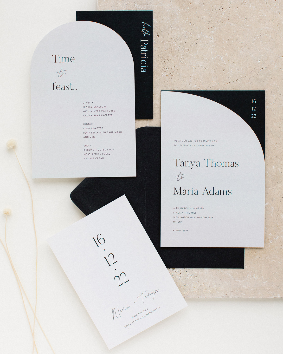 Half Arch wedding stationery collection overview