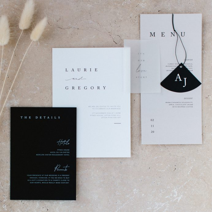 Love story Wedding stationery collection overview