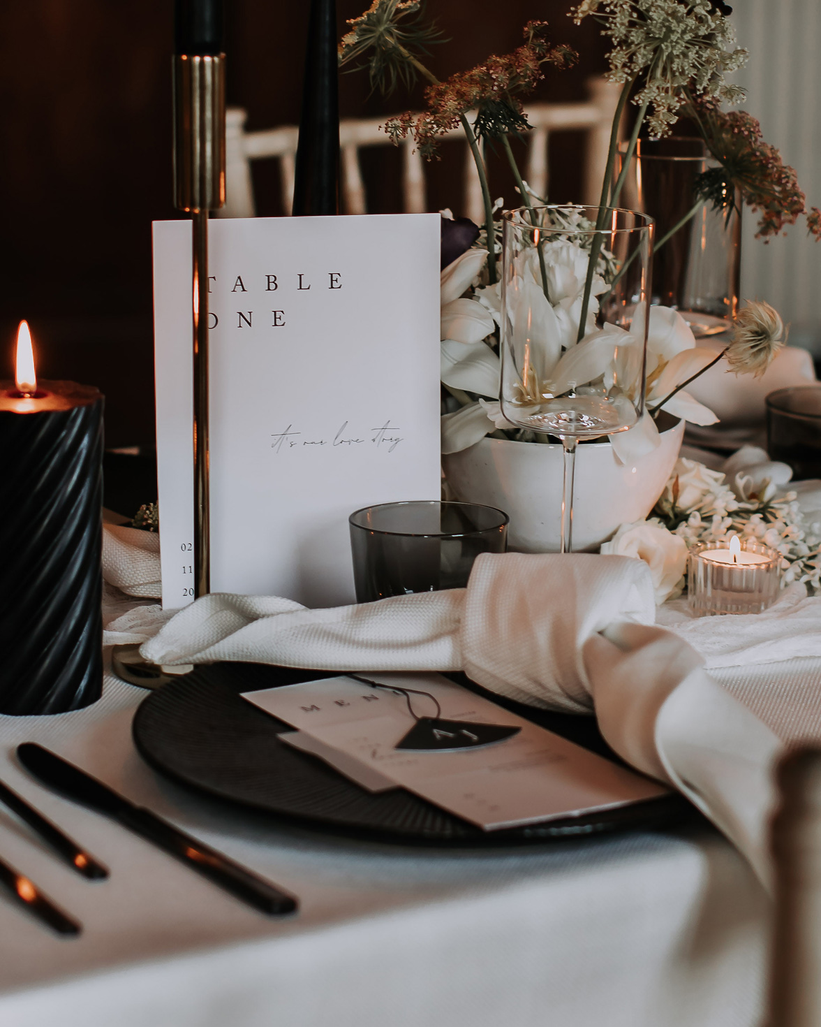 Love story Wedding table number