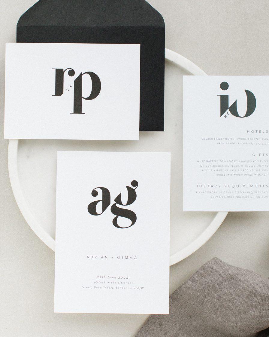 Mono Duo Wedding Stationery sample pack