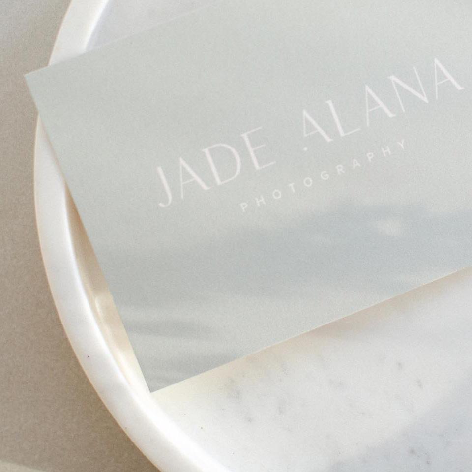 Jade Alana photography Branding card