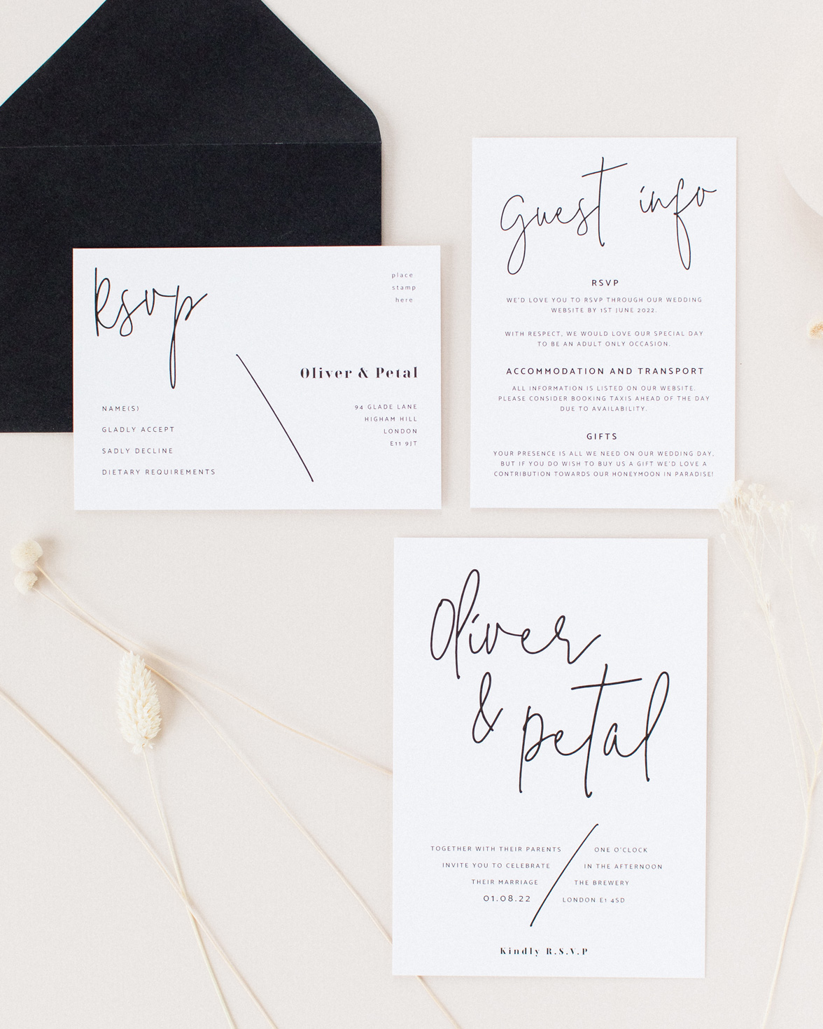 Script Wedding Stationery sample pack