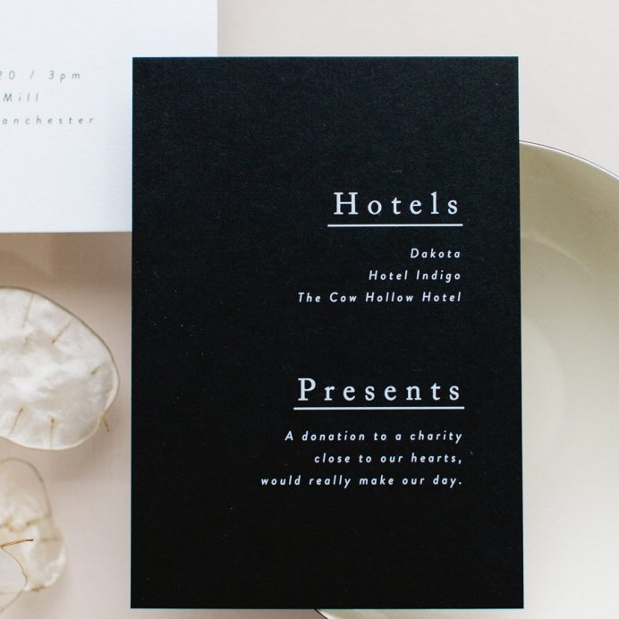 Simple Type wedding details card