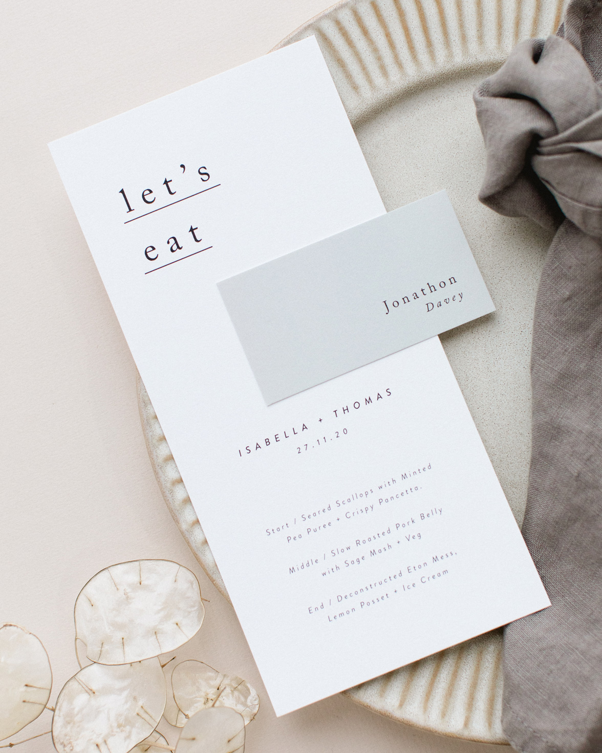 Simple Type wedding menu and place name