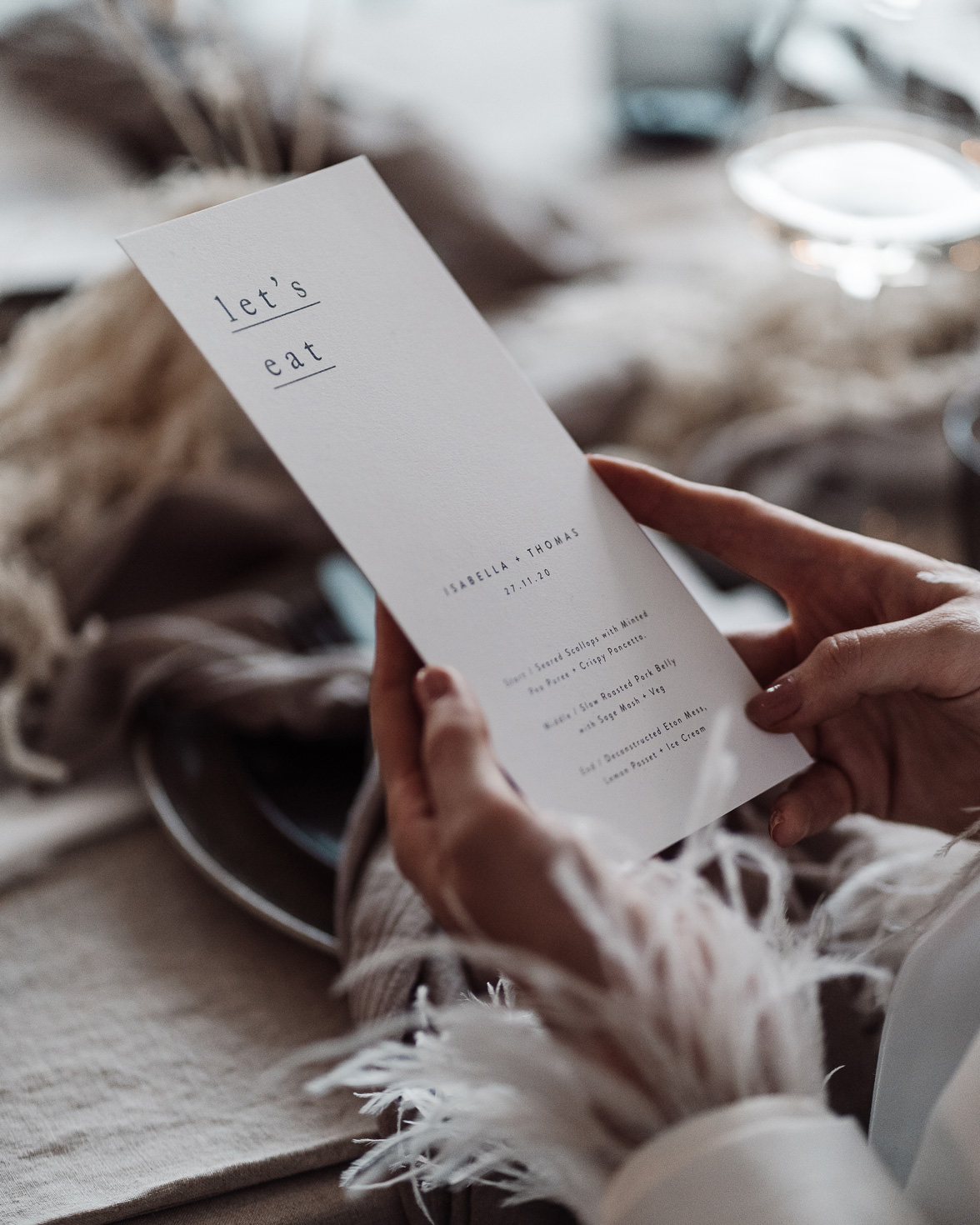 Simple Type wedding menu