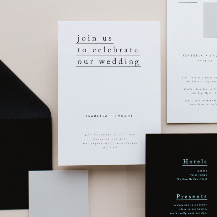 Simple Type wedding stationery collection overview