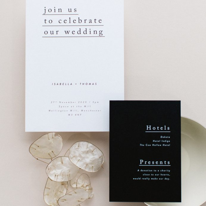 Simple Type wedding invitation and details card